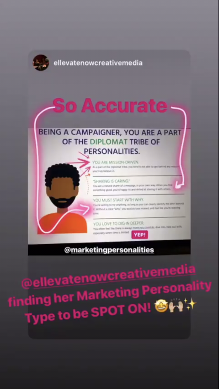 Marketing Personalities testimonial IG STORY 2