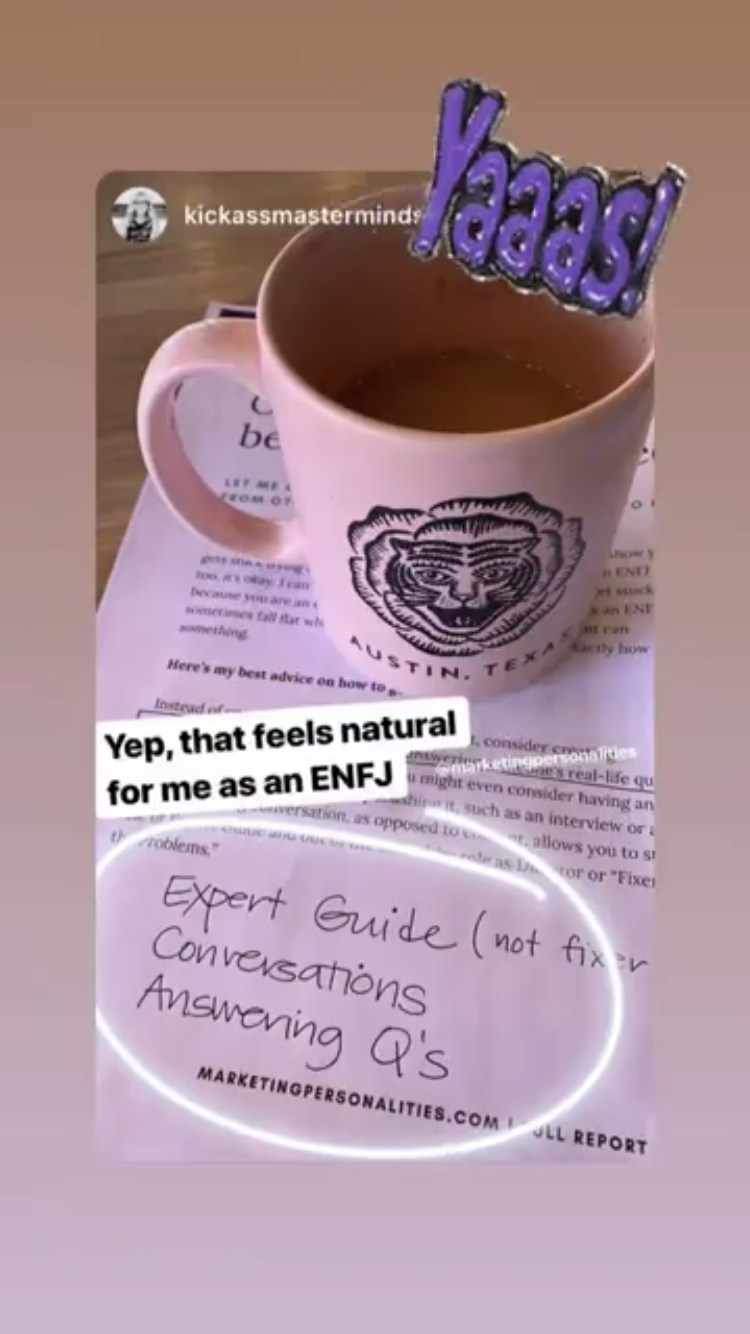 Marketing Personalities testimonial from an ENFJ