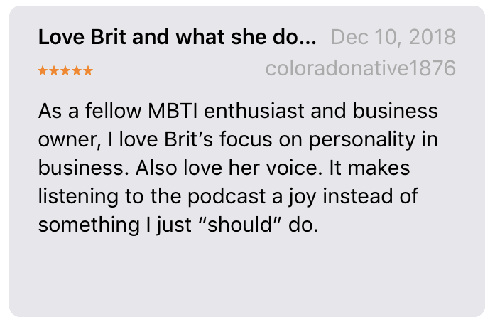 Marketing Personalities testimonial iTunes review