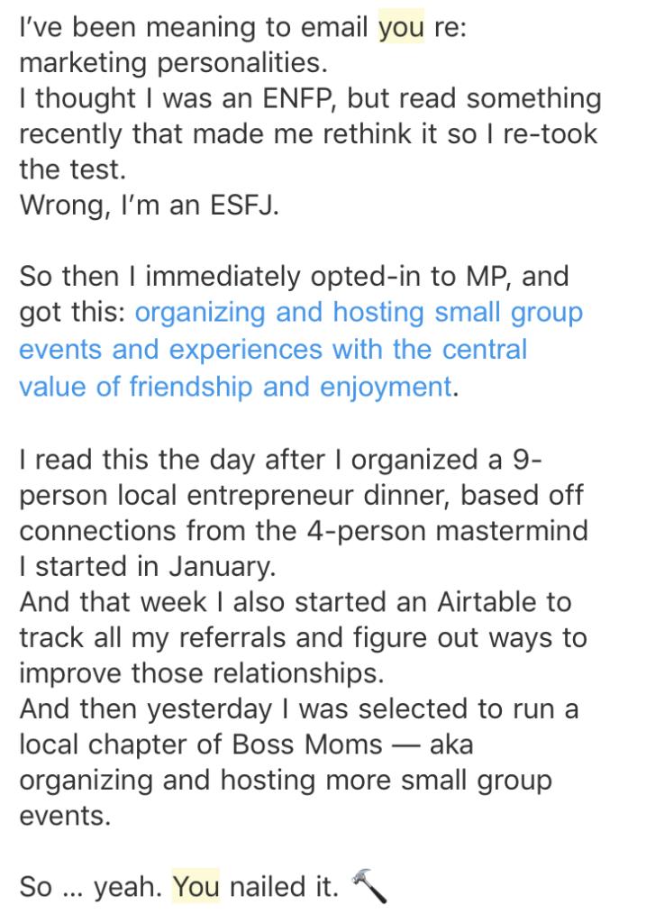 Testimonial - ESFJ